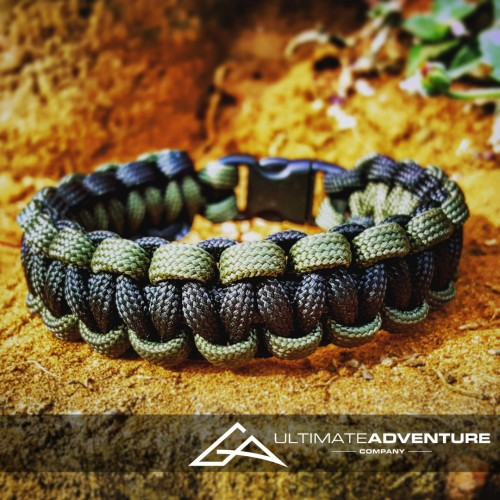OD Green and Black Paracord Survival Bracelet