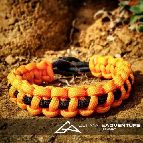 Orange with Black Supporter Band Paracord Survival Bracelet