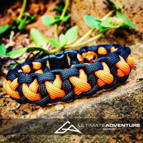 Orange and Black Cross Thread Paracord Survival Bracelet