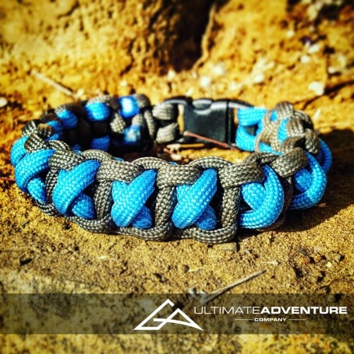 Sky Blue and Gray Cross Thread Paracord Survival Bracelet