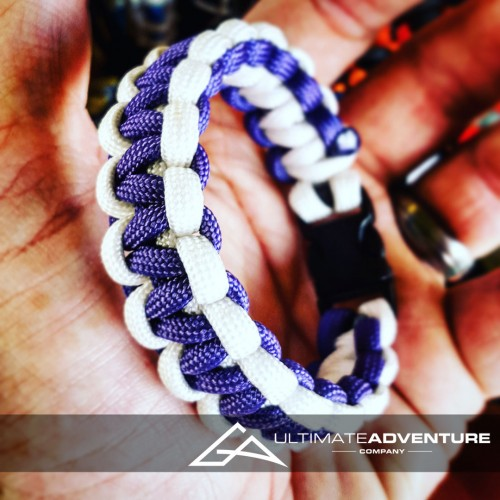 Purple and White Paracord Survival Bracelet