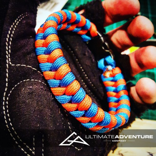 Orange and Sky Blue Switchback Paracord Survival Bracelet