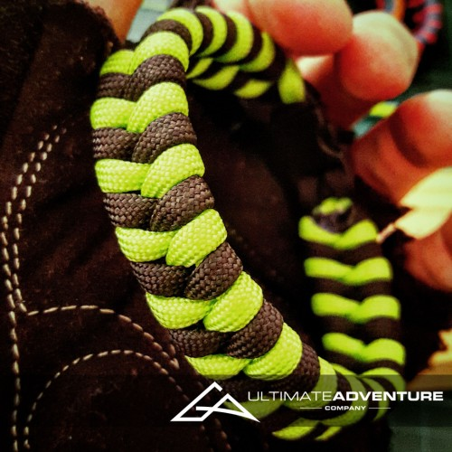 Black & Neon Green Snakeskin Switchback Paracord Bracelet