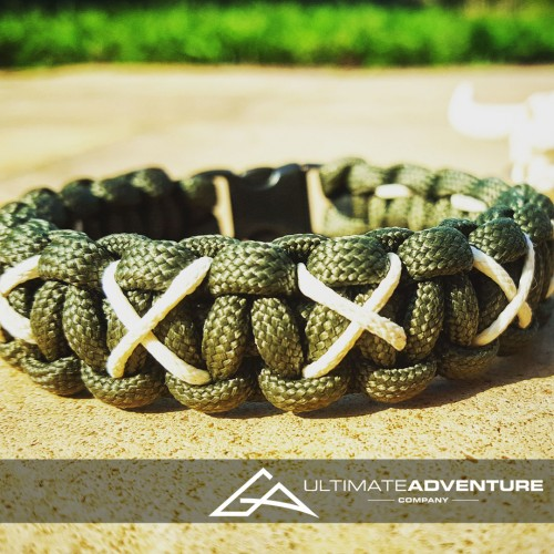 OD Green Paracord Survival Bracelet with X Thread