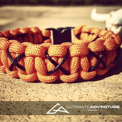 Neon Orange Paracord Survival Bracelet with X Thread