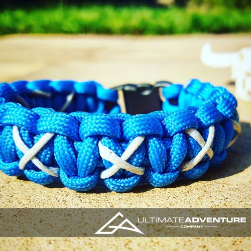 Sky Blue Cobra Paracord Survival Bracelet with X-Thread