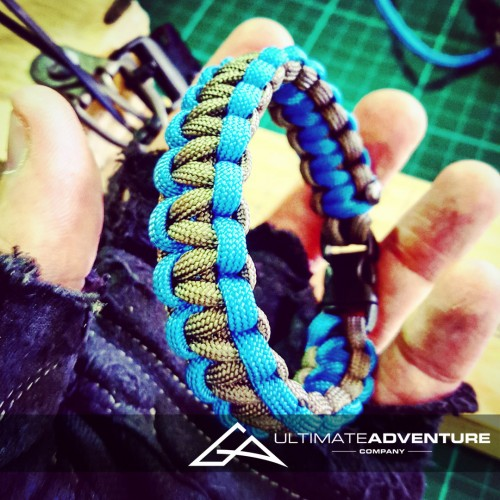 Gray and Sky Blue Paracord Survival Bracelet