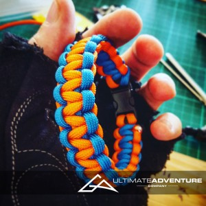 Orange and Sky Blue Paracord Survival Bracelet