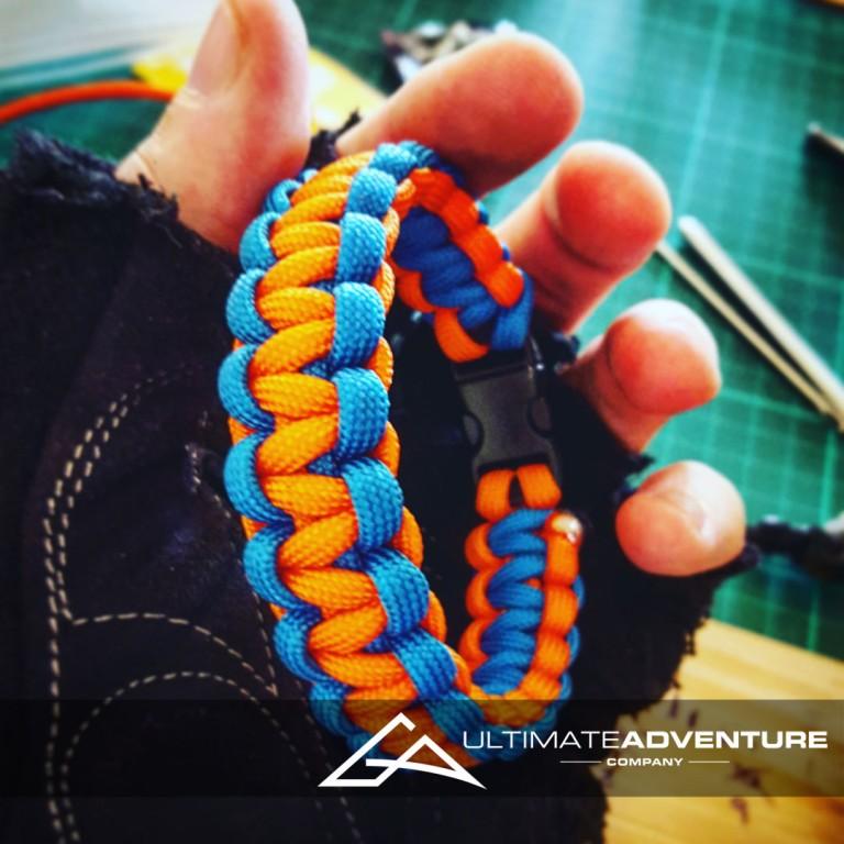 Orange and Sky Blue Paracord Survival Bracelet