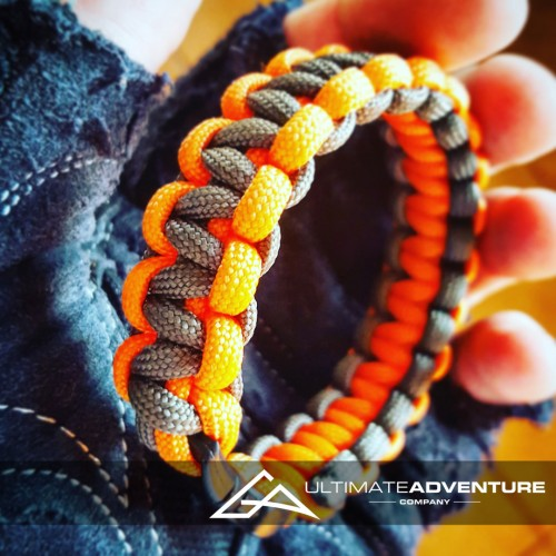 Gray and Orange Paracord Survival Bracelet