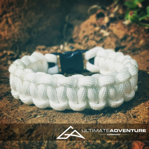 White Paracord Survival Bracelet