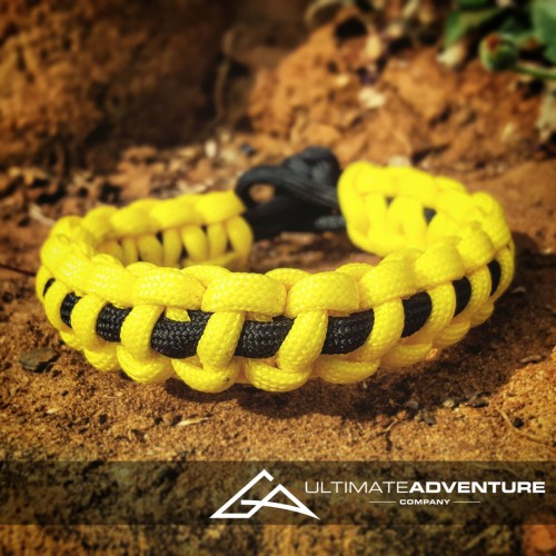 Yellow with Black Supporter Band Paracord Survival Bracelet