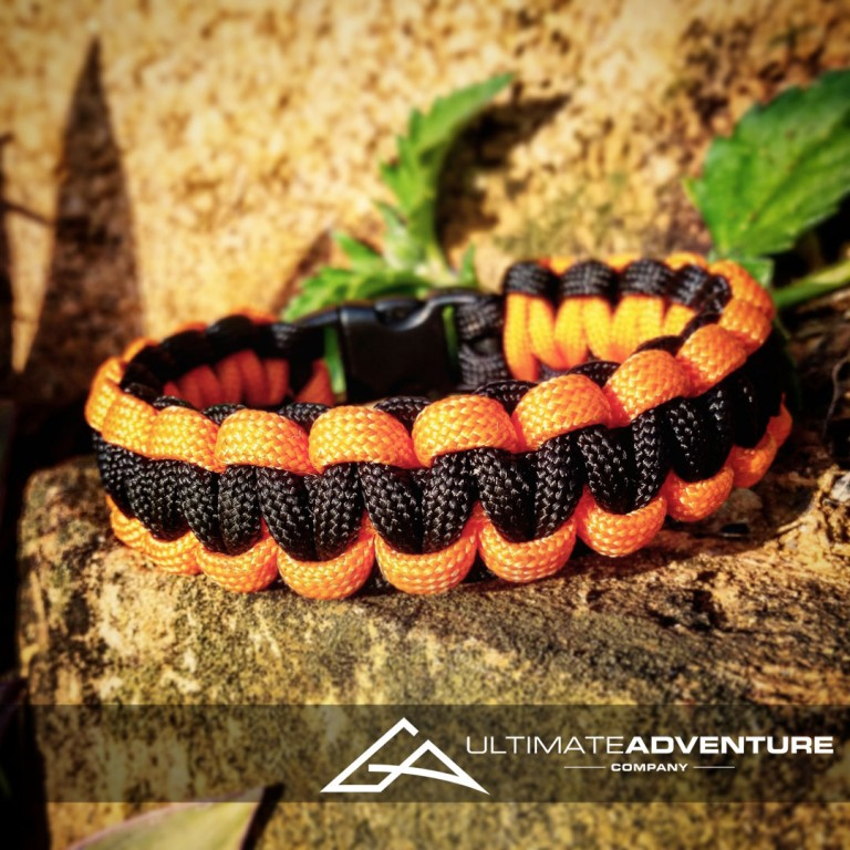 Orange and Black Paracord Survival Bracelet