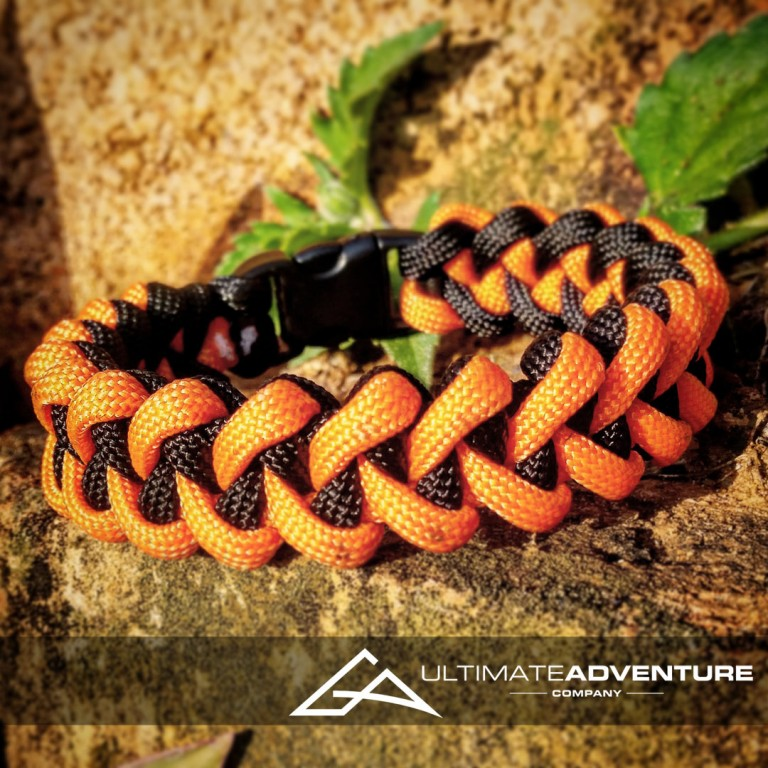 Orange and Black Jawbone Paracord Survival Bracelet