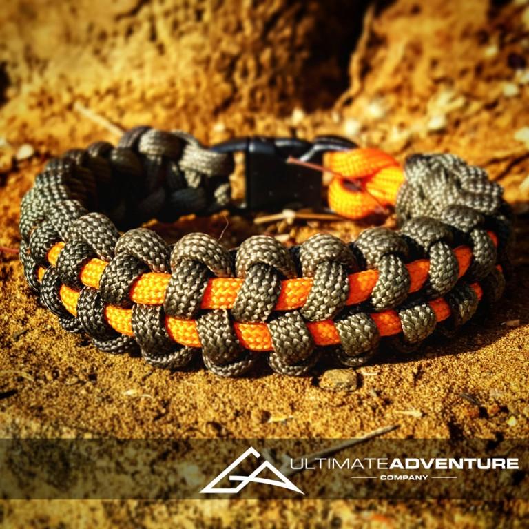 OD Green and Orange TyreTrax Paracord Survival Bracelet