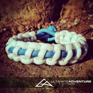 White with Sky Blue Supporter Band Paracord Survival Bracelet