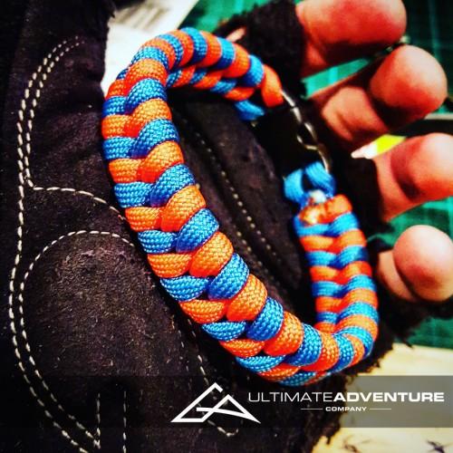 Orange and Sky Blue Switchback Paracord Survival Bracelet