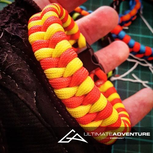 Yellow & Red Blaze Bar Switchback Paracord Bracelet