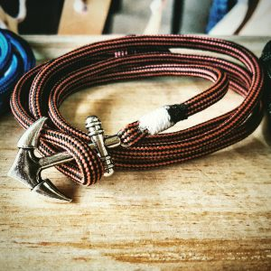Black and Red Stripe Paracord Anchor Bracelet Nautical EDC Every Day Carry, Anklet