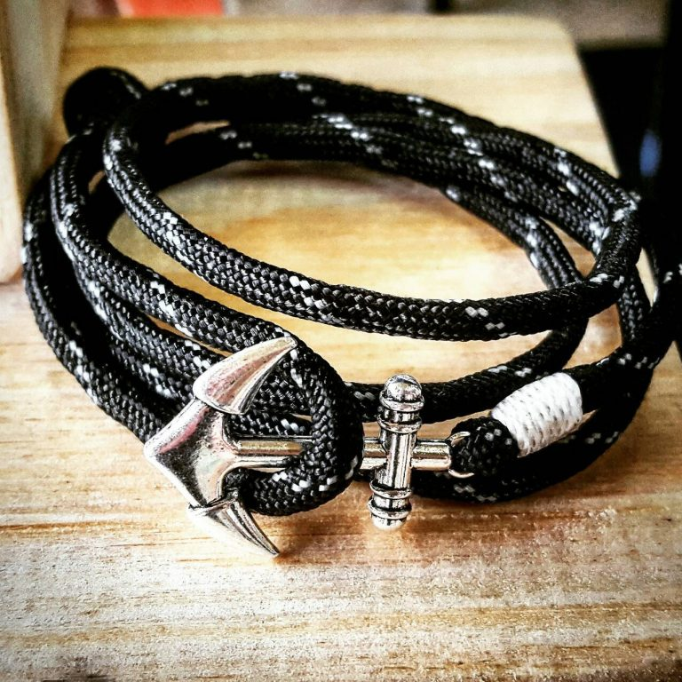 Black and thin White Stripe Paracord Anchor Bracelet Nautical EDC Every Day Carry, Anklet