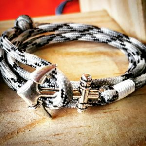 Black and White Camo Paracord Anchor Bracelet Nautical EDC Every Day Carry, Anklet
