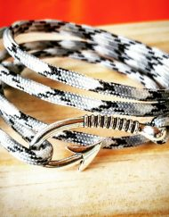 Black and White Camo Paracord Fishhook Bracelet Nautical EDC Every Day Carry, Anklet