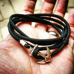 Black Paracord Anchor Bracelet Nautical EDC Every Day Carry, Anklet