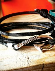 Black Paracord Fishhook Bracelet Nautical EDC Every Day Carry, Anklet