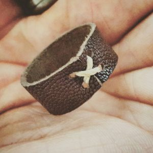 Brown Cross-Thread Mens Leather Ring, Accessories, Groomsman Gift