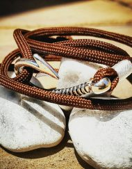 Brown Paracord Fishhook Bracelet Nautical EDC Every Day Carry, Anklet