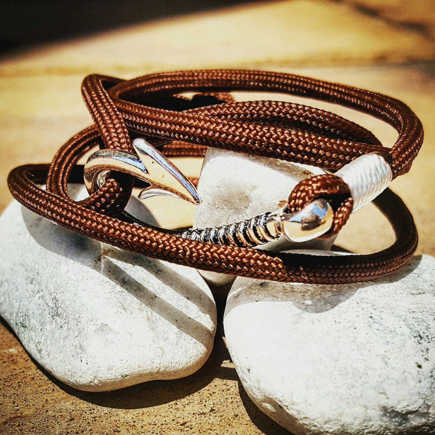 Brown Paracord Fishhook Bracelet Nautical Edc Every Day Carry Anklet Prev