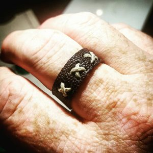 Brown X-Thread Mens Leather Ring, Accessories, Groomsman Gift