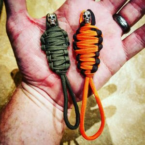 DOUBLE SET King Tut Paracord Keychain Mummy with Skull, Paracord Zipper Pull, EDC Gear