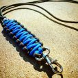EDC Gear, Black and Blue Paracord Lanyard, Paracord Neck Lanyard