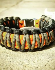 EDC Gear, Black Gray Orange King Cobra Paracord Bracelet, Hunting Fashion