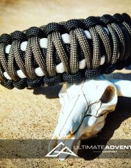 EDC Gear, Black Gray White King Cobra Paracord Bracelet, Hunting Fashion