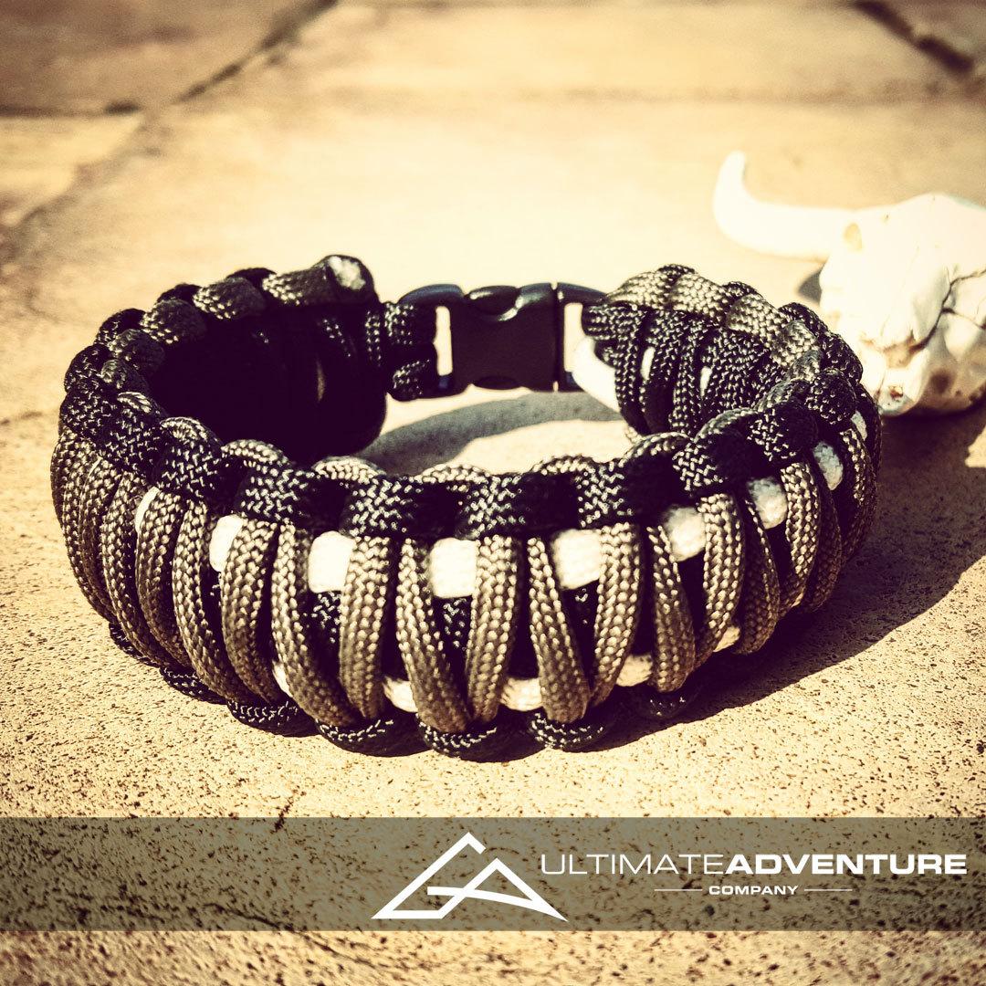 Black Gray And White King Cobra Paracord Bracelet