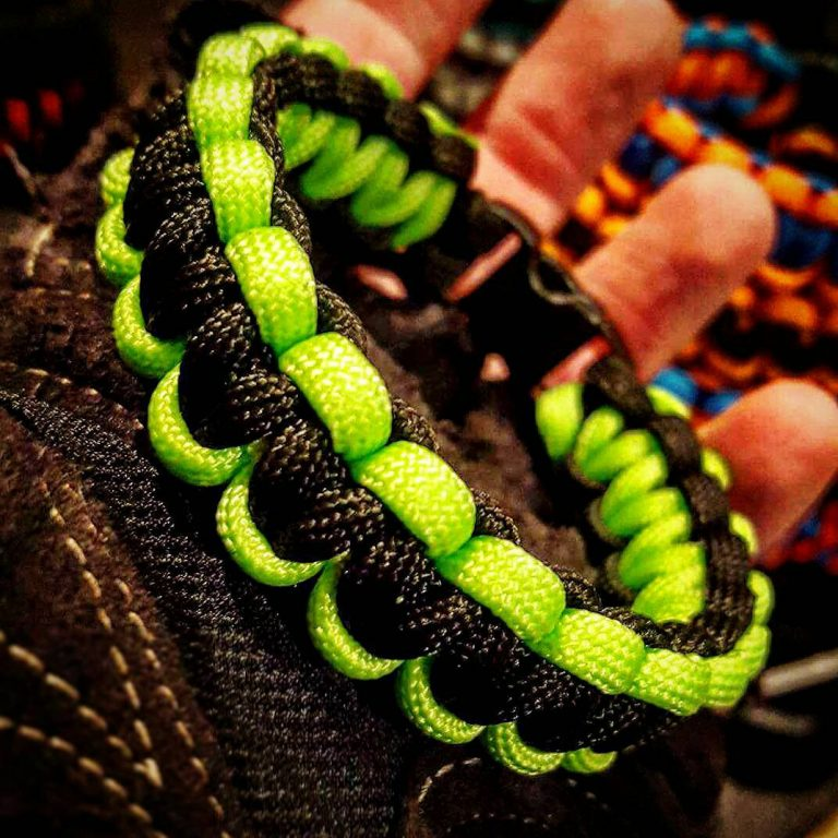 EDC Gear, Black Neon Green Cobra Paracord Bracelet, Hunting Fashion