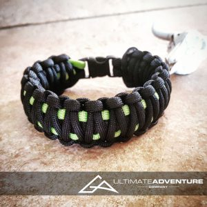 EDC Gear, Black & Neon Green King Cobra Paracord Bracelet, Hunting Fashion