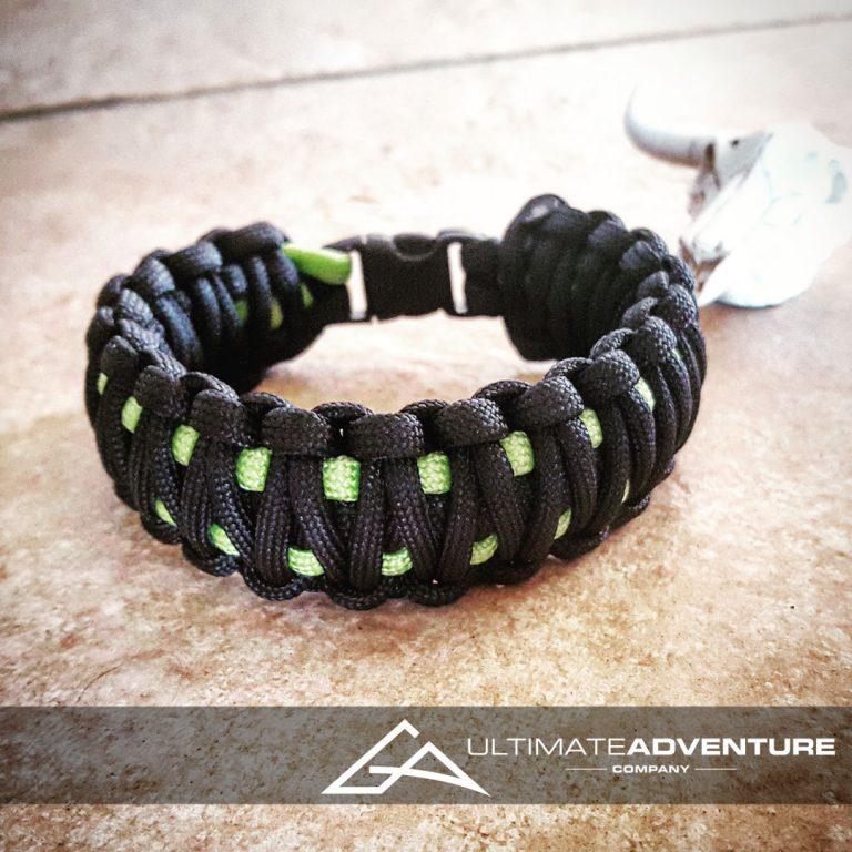 EDC Gear, Black & Neon Green King Cobra Paracord Bracelet, Hunting Fashion