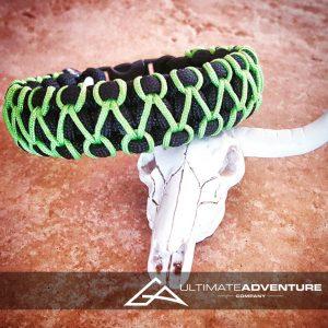 EDC Gear, Black Paracord Bracelet with Neon Green Thread, Hunting Fashion