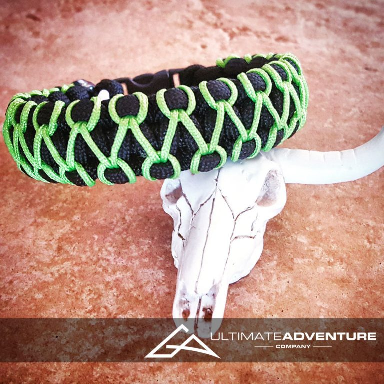 EDC Gear, Black Paracord Bracelet with Neon Green Thread, Hunting Fashion