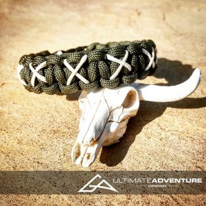 EDC Gear, Dark Green Paracord Bracelet with White X Thread, Hunting Fashion