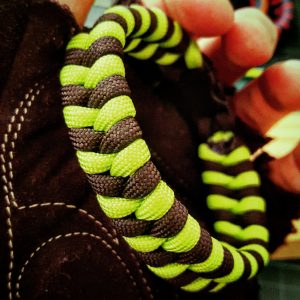 EDC Gear, Neon Green & Black Fishtail Paracord Bracelet, Fathers Day Gift