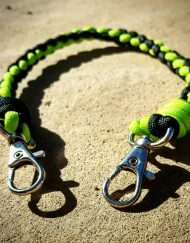 EDC Gear, Neon Green & Black Paracord Keychain, Paracord Lanyard