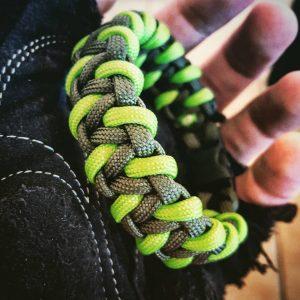 EDC Gear, OD Green & Neon Green Paracord Bracelet, Hunting Fashion