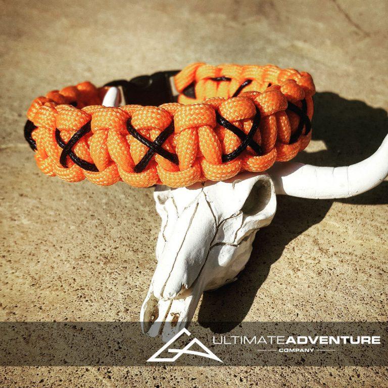EDC Gear, Orange Paracord Bracelet with Black X Thread, Hunting Fashion
