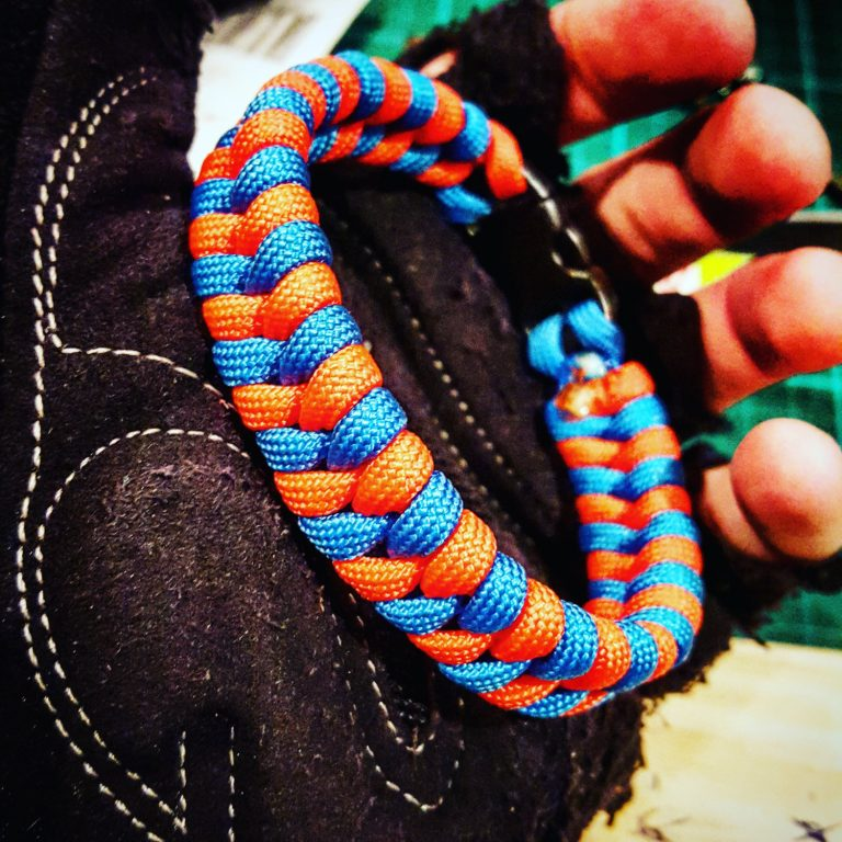 EDC Gear, Sky Blue and Neon Orange Fishtail Paracord Bracelet, Fathers Day Gift