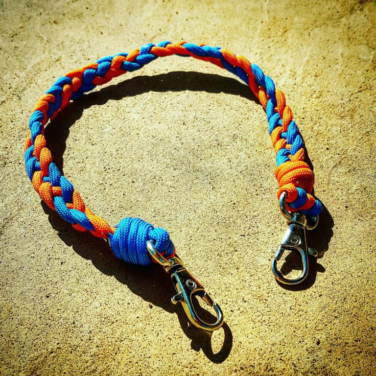 EDC Gear, Sky Blue and Neon Orange Paracord Keychain, Paracord Lanyard