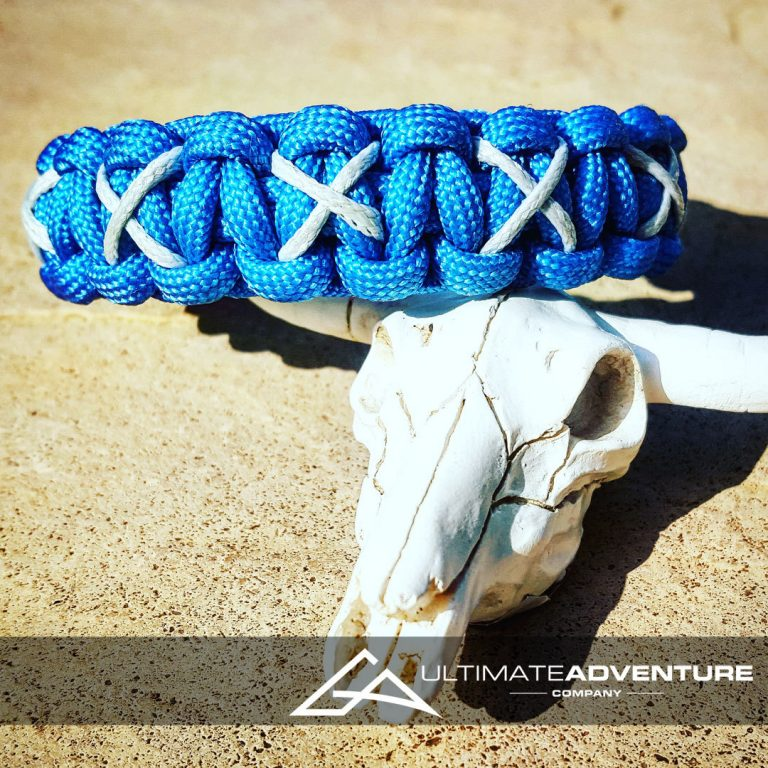 EDC Gear, Sky Blue Paracord Bracelet with Gray X Thread, Hunting Fashion